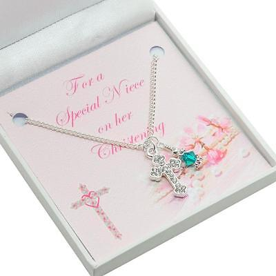 Gift for Girls Christening Day, Cross Necklace with Birthstone for Daughter etc