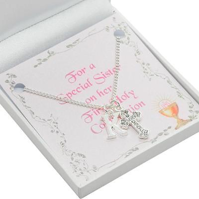 Gift for Girls First Communion Day, Cross Necklace with Initial for Daughter etc