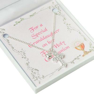 Gift for Girls First Communion Day, Cross Necklace with Heart for Daughter etc