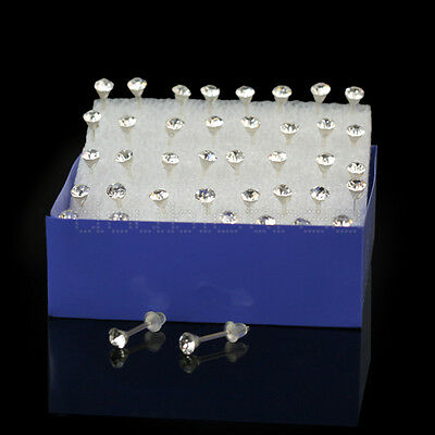 Wholesale Lot 20 Pairs Clear Crystal Earring Studs 1 Box Allergy Free Neddle