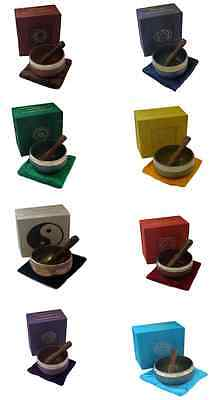 Tibetan Singing Bowl With Baton And Cushion Gift Set (3 Inches)  Various Colours
