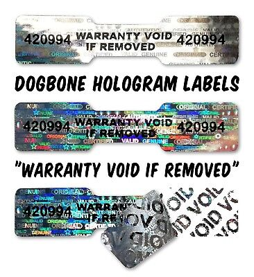 90x DOGBONE Security Hologram Stickers NUMBERED, 45mm x 10mm, Warranty Labels