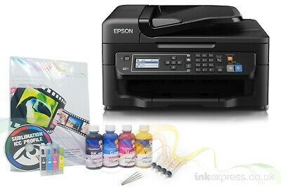 None OEM A4 Dye Sublimation Printer Epson WF-2630WF + Refill Carts + Ink + Paper
