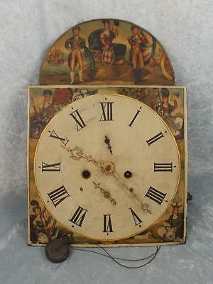 Antique Britannia Long Cased Grandfather Clock Dial Face
