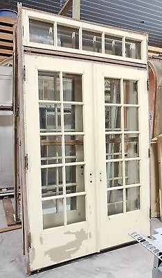 "Antique Pre-Hung French Doors 60"" wide in Frame Jamb Transom Window and Control"