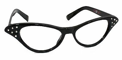 Hip Hop 50s Black Adult Cateye Glasses Poodle Skirt Halloween Costume Accessory