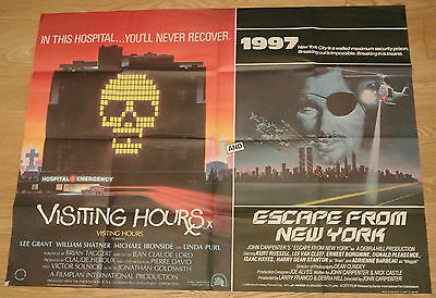 Visiting Hours & Escape From New York 1981 Double Bill Original Uk Quad Poster