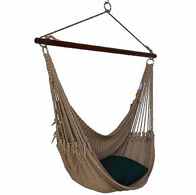 "TAN 55"" Jumbo CARIBBEAN Polyester Rope HAMMOCK CHAIR w/ Footrest & Hardware"