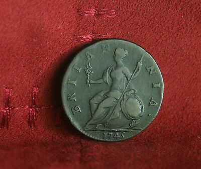 1745 Great Britain 1/2 Half Penny World Coin Britania Seated UK England Nice