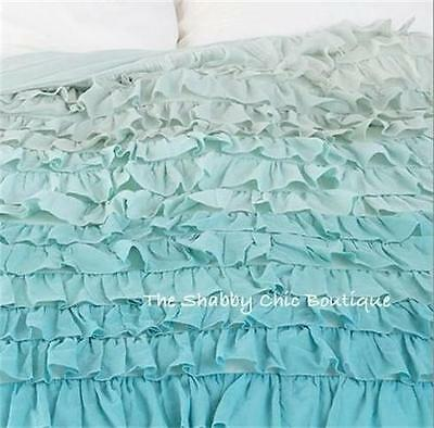 Shabby Beach Cottage Chic Green & Teal Queen Ruffles Duvet Doona Quilt Cover New