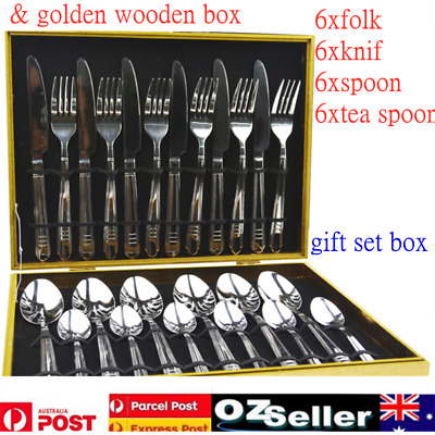 24pcs Stainless Steel Cutlery Set Dinnerware Knife Fork Spoon Wooden Gift Box