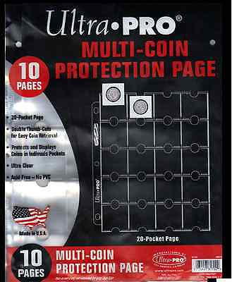 (10) Ultra Pro 20 Pocket Multi Coin Protection Album Pages Thumb Cut Acid Free