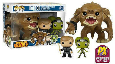 Funko POP! Star Wars ~ RANCOR w/LUKE SKYWALKER & SLAVE OOLA FIGURE SET - PX DST