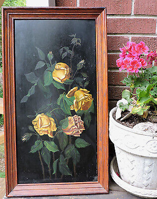 Antique VICTORIAN Edwardian YELLOW ROSES Floral Oil Painting Framed c1880-1900