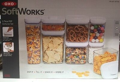 OXO SoftWorks Pop Container Set Food Storage Airtight Seal Easy Clean 8-Piece
