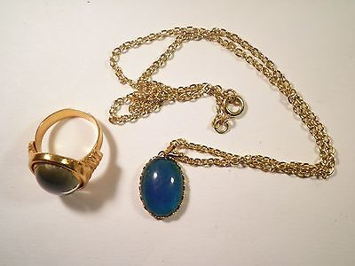 1 Set of Goldplated Moodstone Necklace and Ring