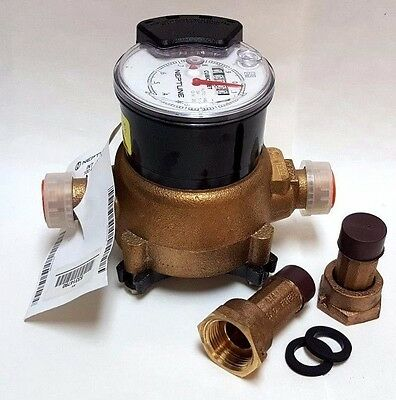 "Neptune T-10 Water Meter, 3/4"" Lead-free, Cu/Ft Encoder Register, WITH couplings"