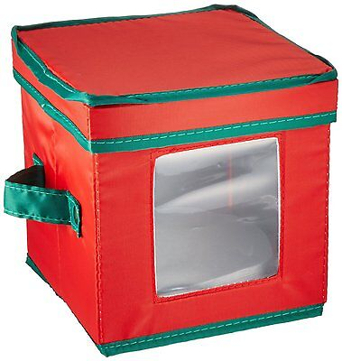 Household Essentials Holiday Dinnerware Storage Chest for Saucers 530RED NEW