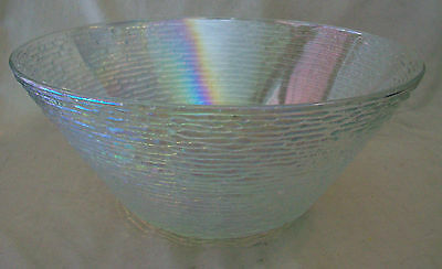"Vintage Huge 11.25"" Rainbow Iridescent Salad Bowl, Vintage Glass"