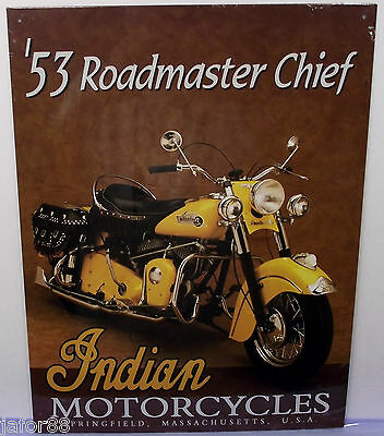 Indian Yellow 53 Roadmaster Chief, Motorcycle  Metal Sign,