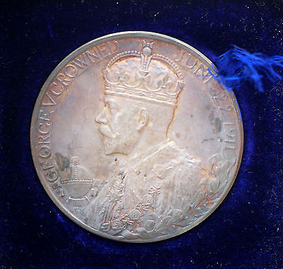 1911 UK George V Coronation Medal 51mm Royal Mint Case 3oz Silver E. 1922A