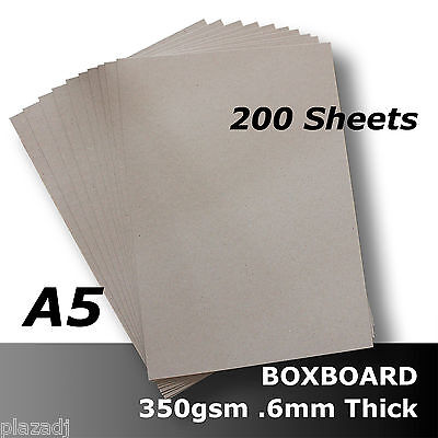 200 x BoxBoard Backing Card 350gsm .6mm A5 Grey 100% ReCycled #B1005