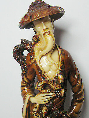 Vintage Chinese Resin Male Figurine With Cane, Scrolls & Birds of Paradise