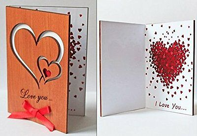 Handmade Wooden Sustainable Love You Hearts Real Wood Card by LapaTOON (WCL2)