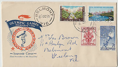 Stamps Australia 1956 Olympic Games set 4 Royal FDC discus thrower orange & blue