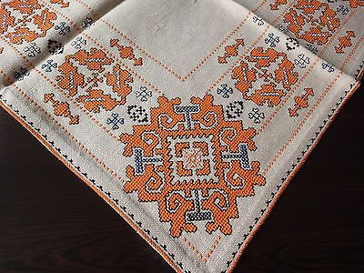Beautiful Vintage Hand-Embroidered Linen Tablecloth in Predominant Orange Color