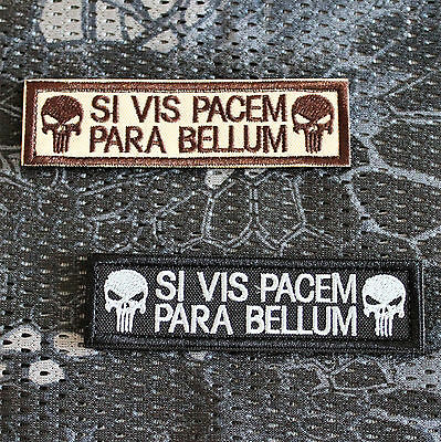 Punisher Patch Klett Morale Aufnäher Si Vis Pacem Para Bellum Airsoft Prepper