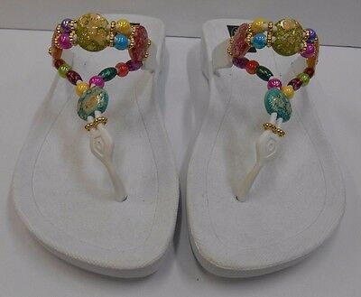 cb44b5ea1b8f40 GRANDCO SANDALS DRESSY Beach Pool WHITE BLING MULTI COLOR FROSTED Beaded  Jeweled