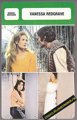 VANESSA REDGRAVE Movie Star FRENCH BIOGRAPHY PHOTO CARD