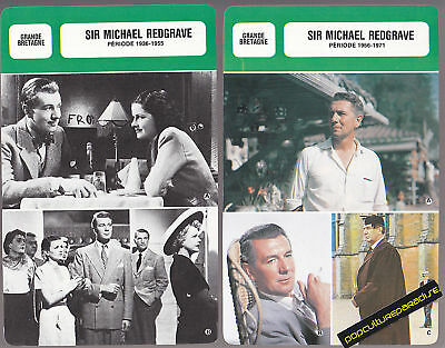 SIR MICHAEL REDGRAVE Movie Star BIOGRAPHY PHOTO 2 CARDS