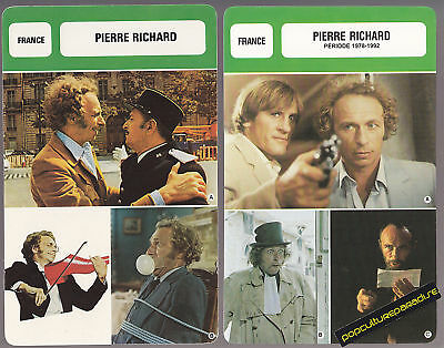 PIERRE RICHARD Film Star FRENCH BIOGRAPHY PHOTO 2 CARDS