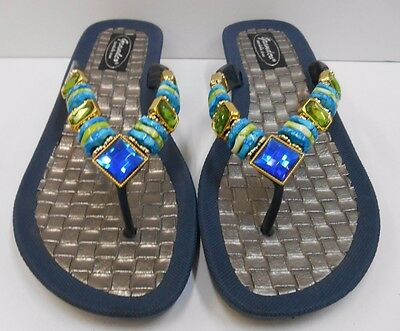 ab5adaa747526 GRANDCO SANDALS Beach Pool THONG BLING Blue   Green Frosted   JEWELED NAVY  BLUE