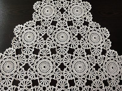 Lovely Vintage Handmade Ecru Cotton Crochet Rhomboid Tablecloth