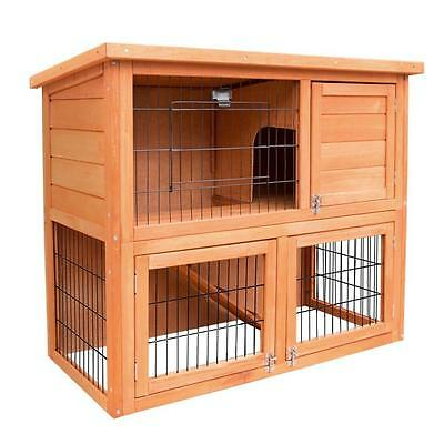 Double Storey Fir Wood Pet Rabbit Guinea Pig Chicken Run Cage House Hutch Coop
