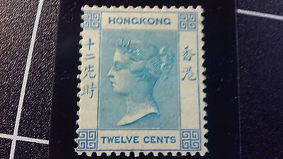 1862 HONG KONG QUEEN VICTORIA  THE 1ST ISSUE  12c UNWMK  - MLH