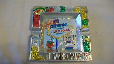 Welcome to Fabulous Las Vegas Metal Ashtray with MGM Lion, Slot Machine & More
