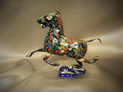 Rare Fine Antique Early Chinese Cloisonne Enameled Horse Statue Rich Colors