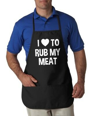 I Love To Rub My Meat Apron Funny Summer Cookout Aprons One Size Fits Most