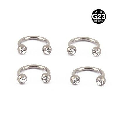 Titanium Horseshoe Ring Crystal Bar Circular Barbell Rings Silver Fashion Hot