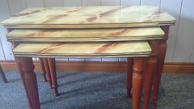 retro MARMO VETRO nest of tables marble glass timber legs vintage x3 PU 4305