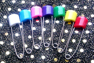 10 Large NAPPY SAFETY PINS Metal Plastic Craft Scrapbook Sewing Baby diaper 50mm