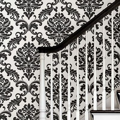 Nuwallpaper Black White Damask Peel And Stick Wallpaper Feature Wall Free P+P