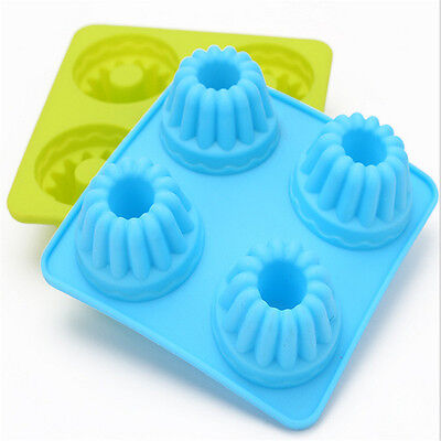 4 Cups Helix Shape Silicone Mini Cake Cupcake Muffin Case Mould Baking Tools
