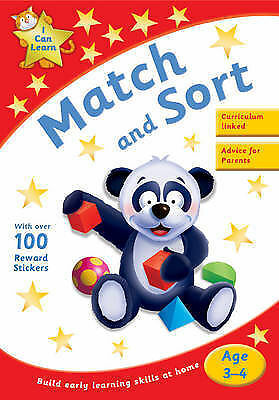 Learn Match and Sort Age 3-4 Activity Sticker Book New