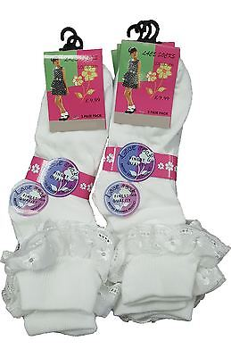 Brand New Kids Girls 2 Pack White Frill Lace School Cotton Socks Various Sizes