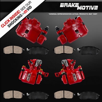 Front and Rear Red Brake Calipers Ceramic Pads HONDA CIVIC DEL SOL HATCHBACK Si